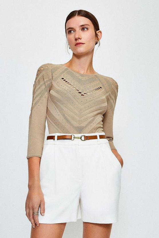 Camel Pointelle Knitted Top