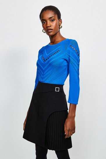 Cobalt Pointelle Knitted Top