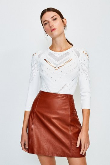 Ivory Pointelle Knitted Top