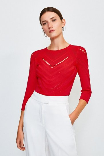 Red Pointelle Knitted Top