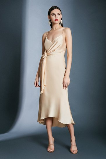 Apricot Satin Wrap Tie Waist Dress