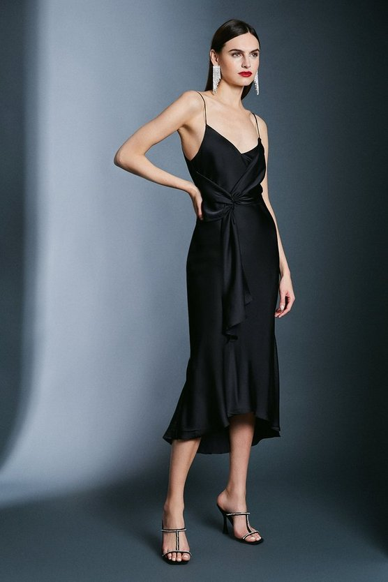 Black Satin Wrap Tie Waist Dress