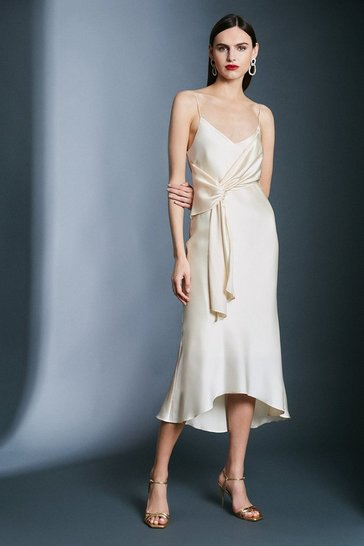 Cream Satin Wrap Tie Waist Dress