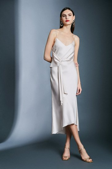 Stone Satin Wrap Tie Waist Dress