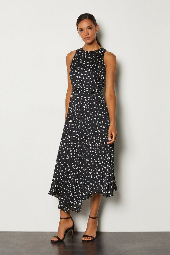Black Dalmatian Sleeveless Long Dress