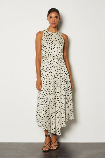 White Dalmatian Sleeveless Long Dress