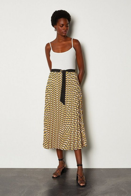 Yellow Sunray Pleated Skirt