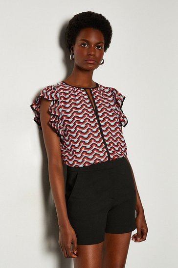 Red Printed Frill Pintuck Top