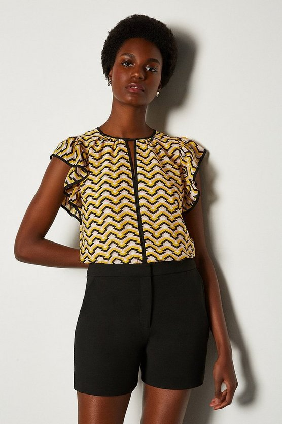 Yellow Printed Frill Pintuck Top