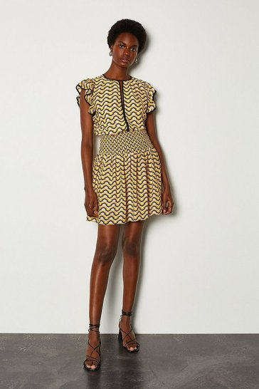 Yellow Printed Frill Mini Dress