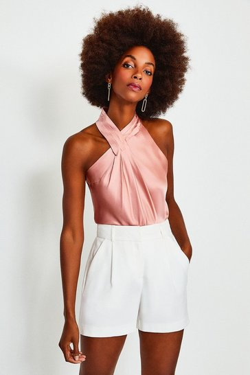 Blush Silk Satin Halter Top