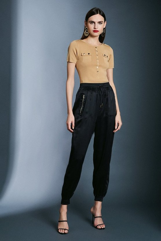 Olive Luxe Sandwash Silk Trousers