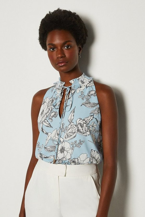 Blue Linear Floral Top
