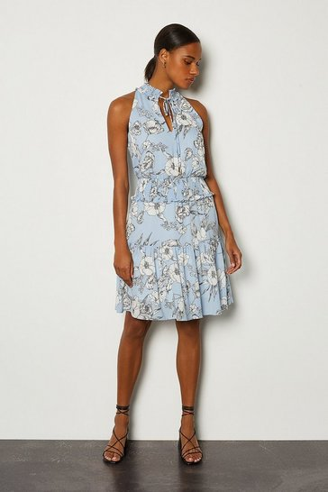 Blue Linear Floral Short Dress