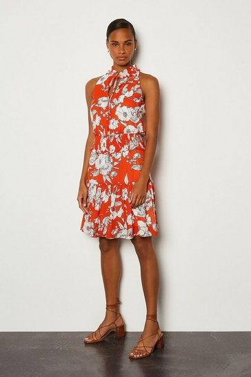 Orange Linear Floral Short Dress