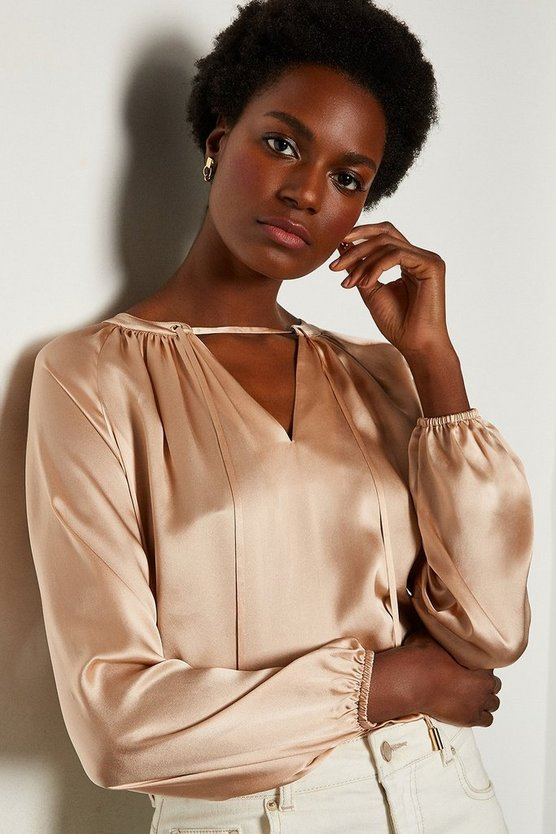 Blush Silk Satin Tie Neck Long Sleeve Top