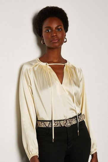 Ivory Silk Satin Tie Neck Long Sleeve Top