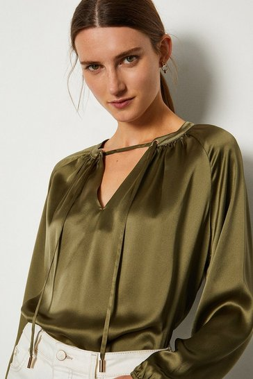 Khaki Silk Satin Tie Neck Long Sleeve Top