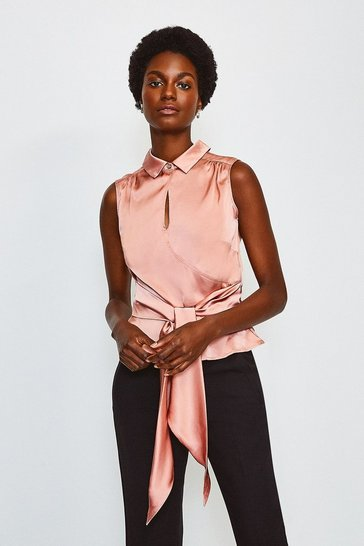 Blush Silk Satin Tie Waist Blouse