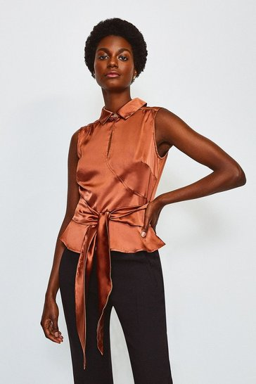 Tan Silk Satin Tie Waist Blouse
