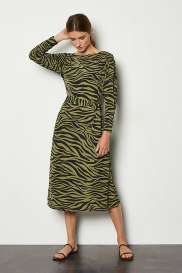 Khaki Zebra Print Midi Dress