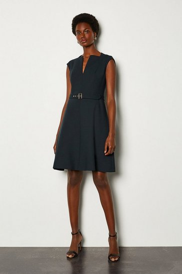 Navy Envelope Neck A Line Dress