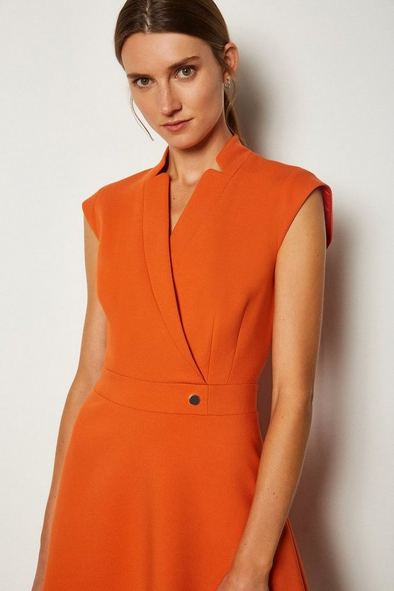 Orange Collar Wrap A Line Dress