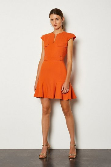 Orange Square D Ring A Line Dress