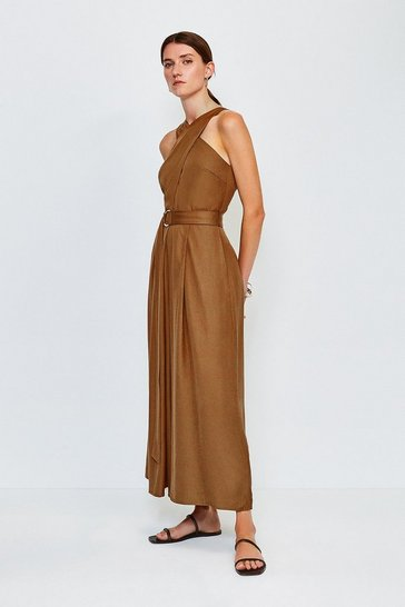 Tan Linen Mix Utility Jumpsuit