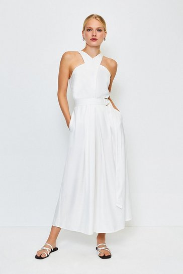 White Linen Mix Utility Jumpsuit