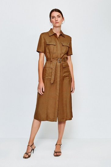 Tan Linen Mix Utility Dress