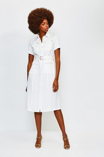 White Linen Mix Utility Dress