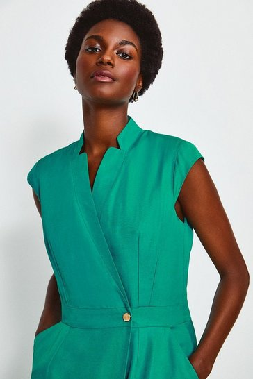 Dark green Linen Mix Wrap Midi Dress