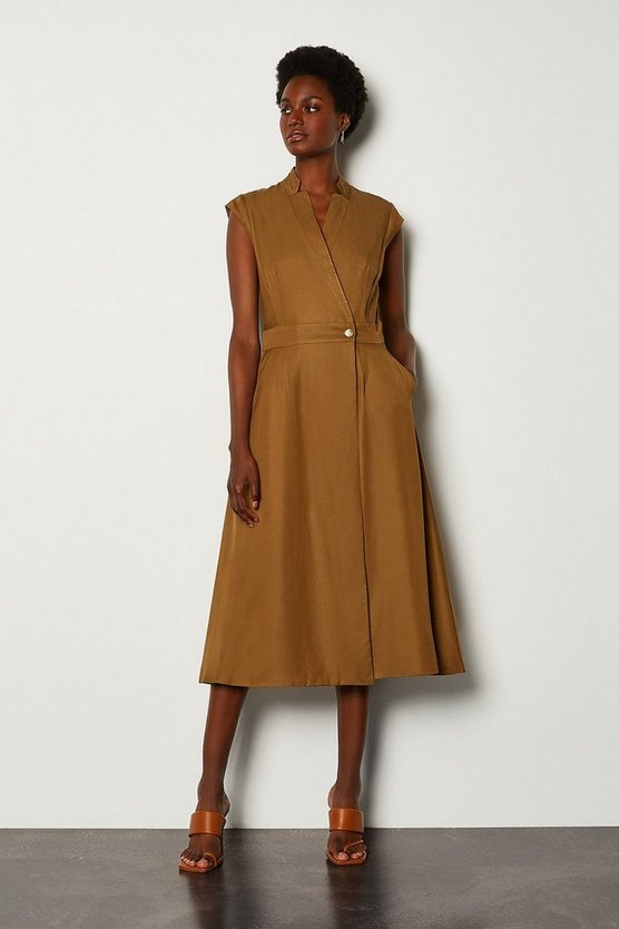 Tan Linen Mix Wrap Midi Dress