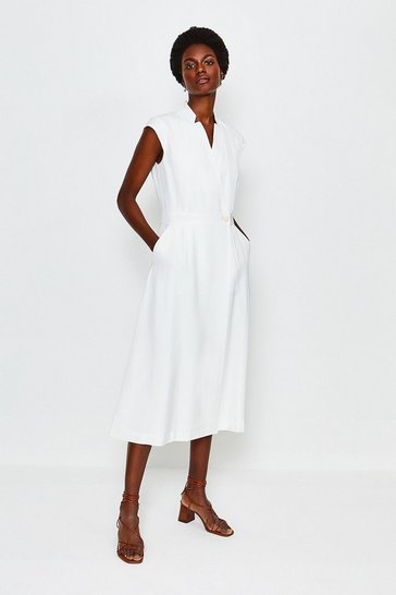 White Linen Mix Wrap Midi Dress