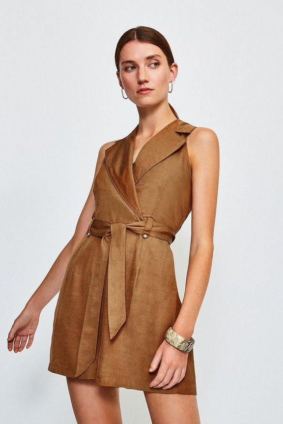 Tan Linen Mix Playsuit