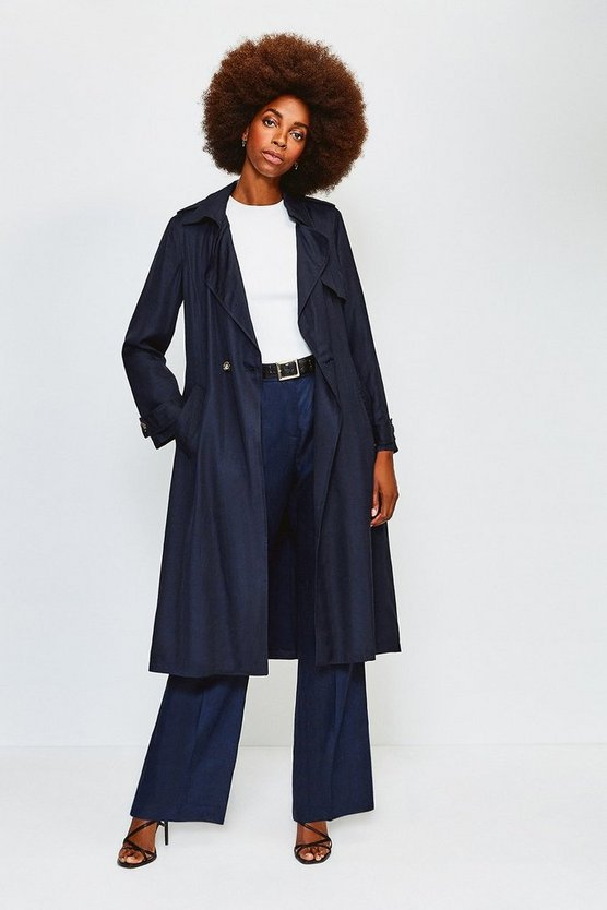 Navy Linen Mix Belted Trench