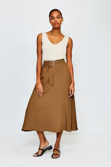 Tan Linen Mix Belted Skirt