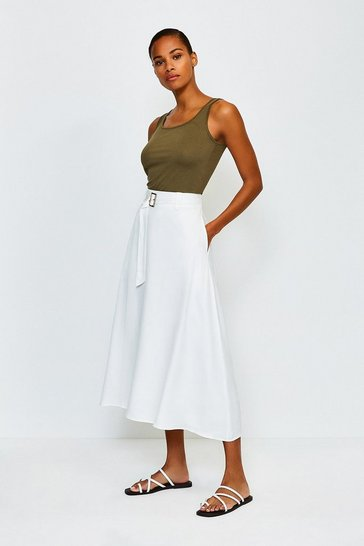 White Linen Mix Belted Skirt