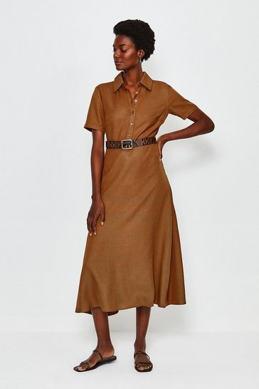 Tan Mix Linen Shirt Dress