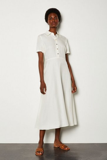 White Mix Linen Shirt Dress