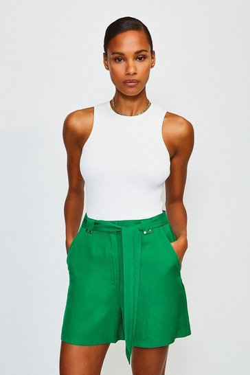 Green Linen Mix Shorts