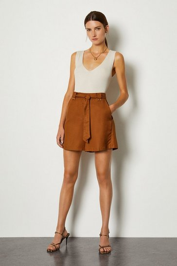 Tan Linen Mix Shorts