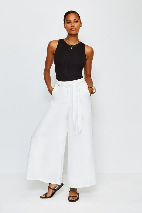 White Linen Mix Wide Leg Trouser
