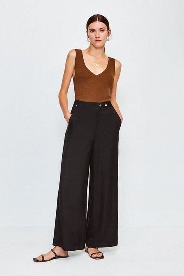 Black Linen Capri Trouser