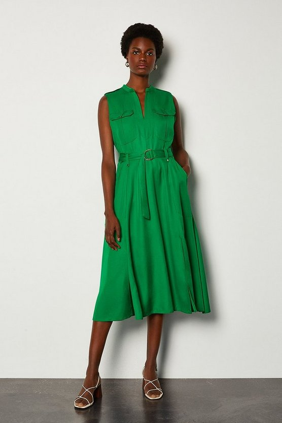 Green Linen Utility Sleeveless Shirt Dress