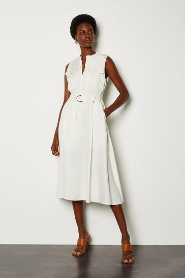 White Linen Utility Sleeveless Shirt Dress