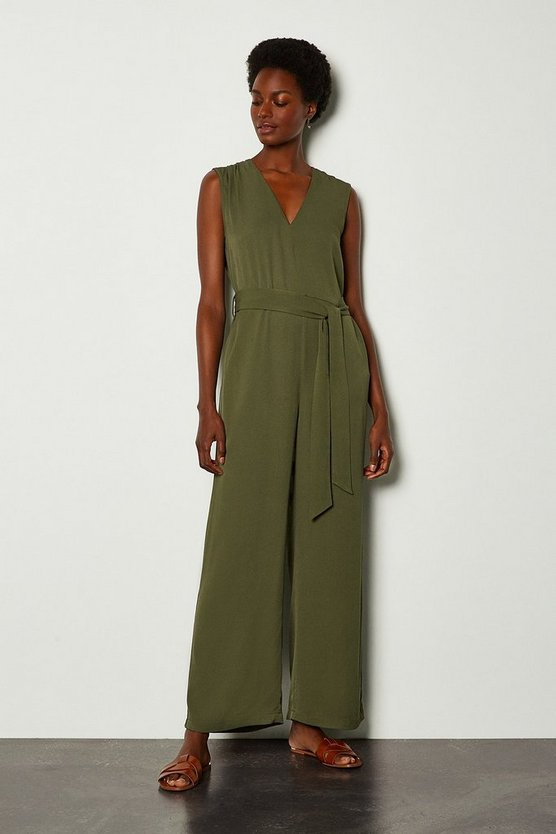 Khaki V-Neck Tencel Jumpsuit