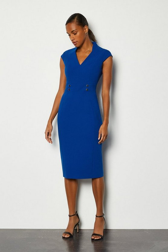 Blue Forever Cap Sleeve Stud Waist Dress