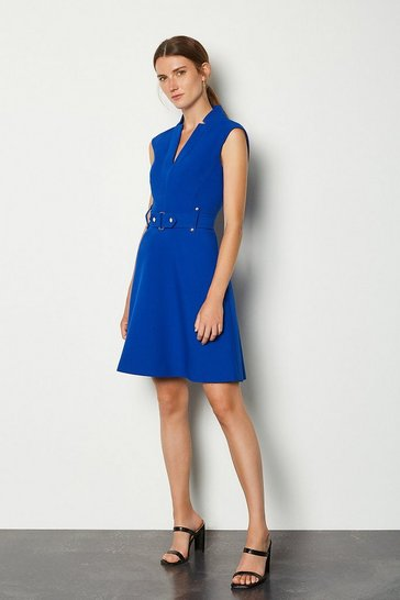 Blue Forever Cinch Waist Cap Sleeve A Line Dress